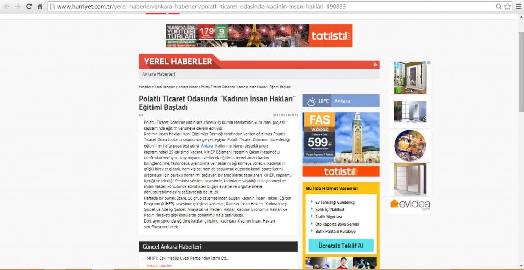 03.11.2015-Hürriyet-Polatlı Ticaret Odasında Kadının İnsan Hakları Eğitimi Başladı