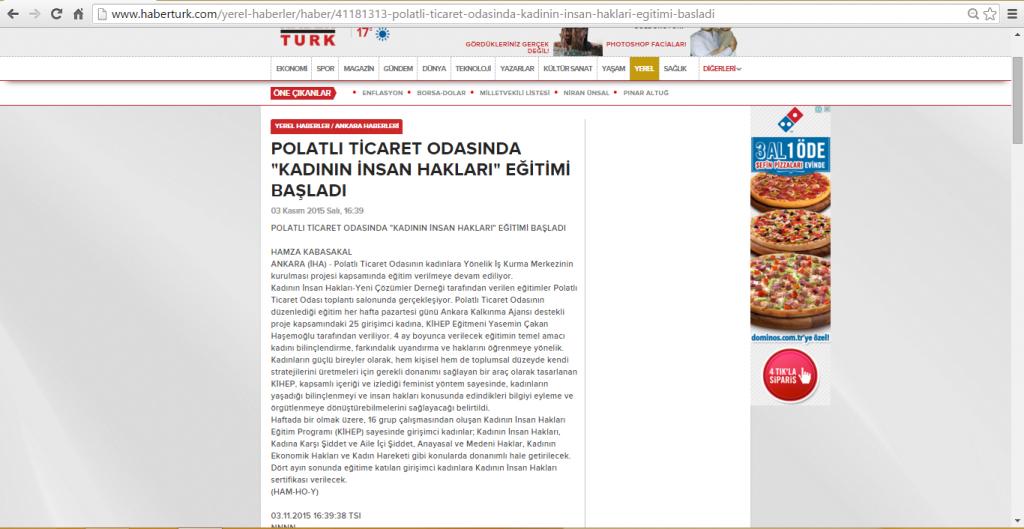 03.11.2015-HaberTürk-POLATLI TİCARET ODASINDA KADININ İNSAN HAKLARI EĞİTİMİ BAŞLADI