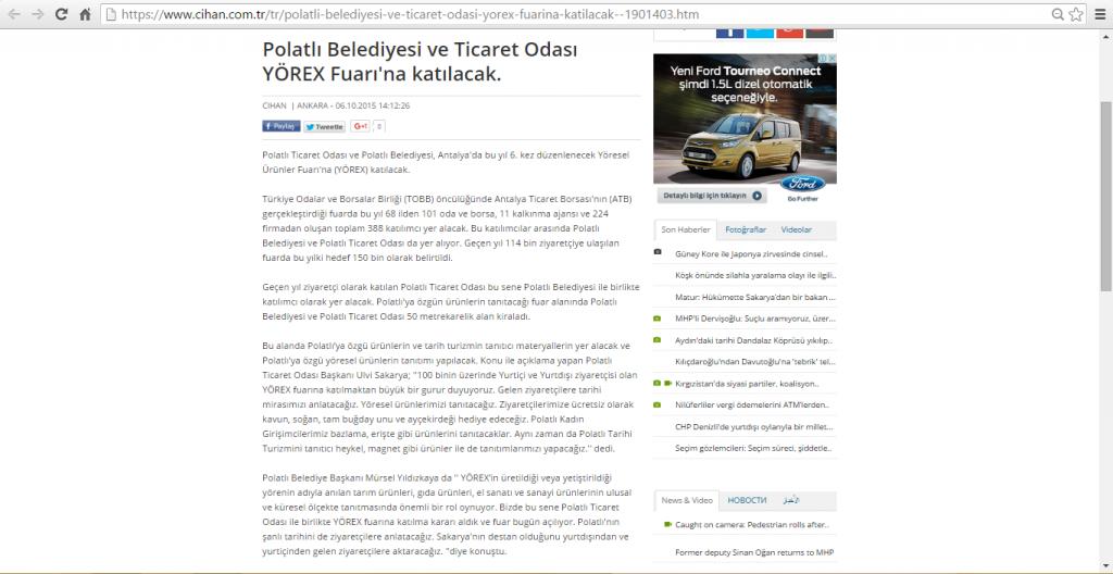 06.10.2015-CİHAN-Polatlı Belediyesi ve Ticaret Odası YÖREX Fuarı'na katılacak