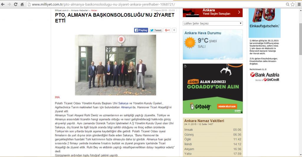 17.11.2015-Milliyet-PTO, ALMANYA BAŞKONSOLOSLUĞU'NU ZİYARET ETTİ