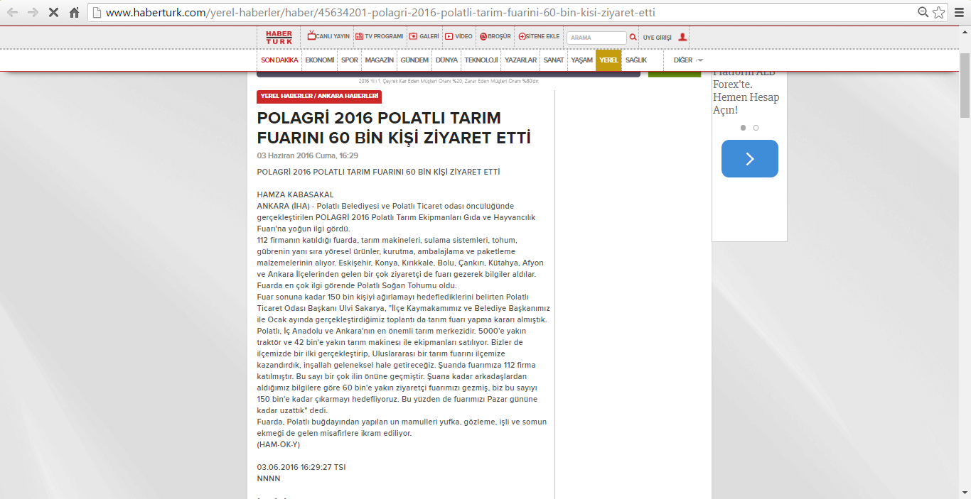 03.06.2016-HaberTurk-POLAGRİ 2016 POLATLI TARIM FUARINI 60 BİN KİŞİ ZİYARET ETTİ 2
