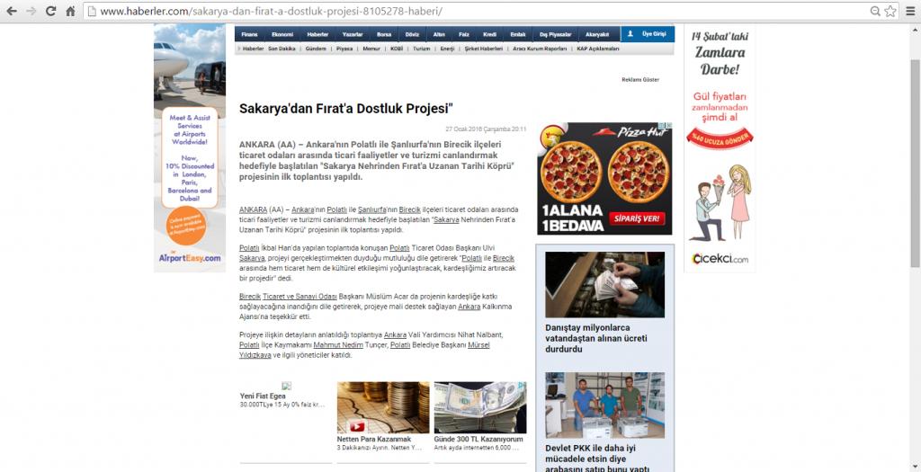 27.01.2016-Haberler-Sakarya'dan Fırat'a Dostluk Projesi