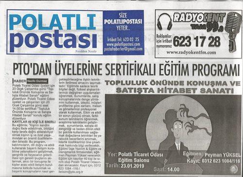 18.01.2019-POSTA-PTODAN ÜYELERİNE SERTİFİKALI EĞİTİM