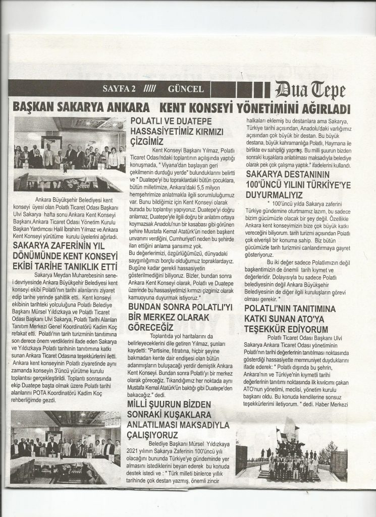 27.08.2019 Duatepe Gazetesi- başkan sakarya ankara kent konseyi yönetimini ağırladı