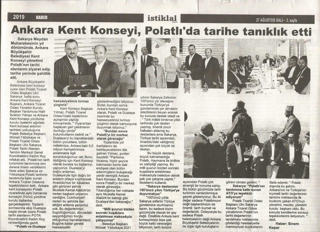 27.08.2019 istiklal gazetesi - Ankara Kent Konseyi Polatlı'da tarihe tanıklık etti