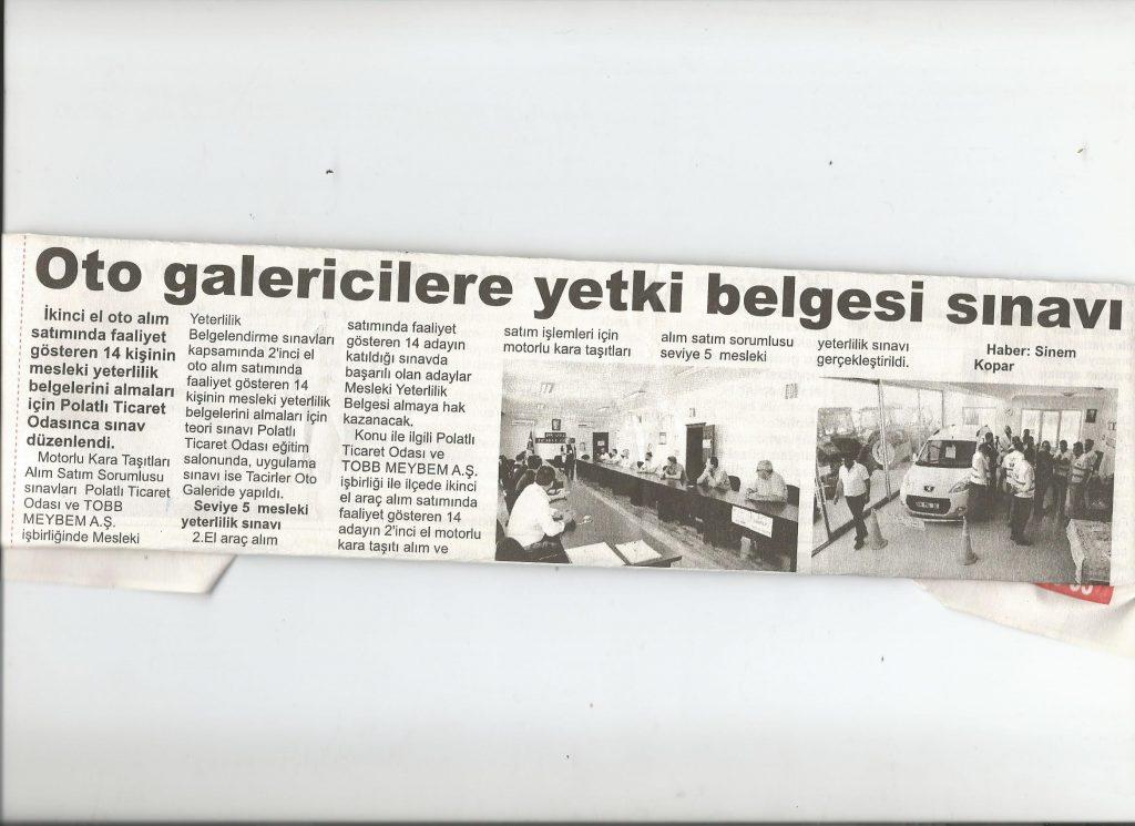 28.08.2019- İSTİKLAL GAZETESİ OTO GALERİCİLERE YETKİ BELGESİ SINAVI
