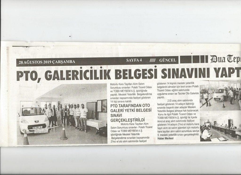 28.08.2019 DUATEPE GAZETESİ- PTO GALERİCİLİK YETKİ BELGESİ SINAVI YAPTI