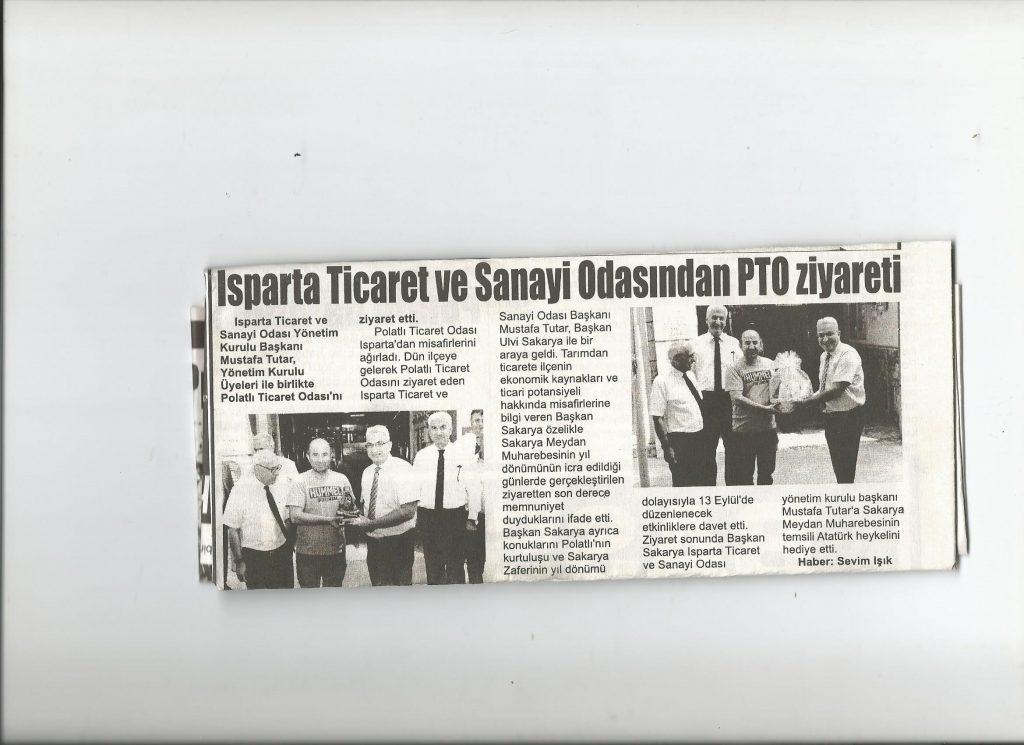 29.08.2019- istiklal gazetesi - ısparta sanayi ve ticaret odası PTO'yu ziyaret etti