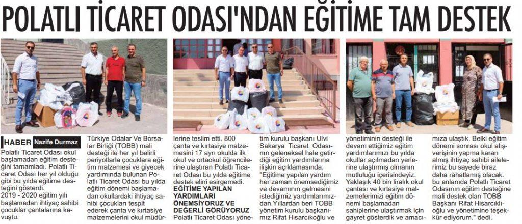 05.09.2019- POLATLI POSTASI- POLATLI TİCARET ODASINDAN EĞİTİME TAM DESTEK