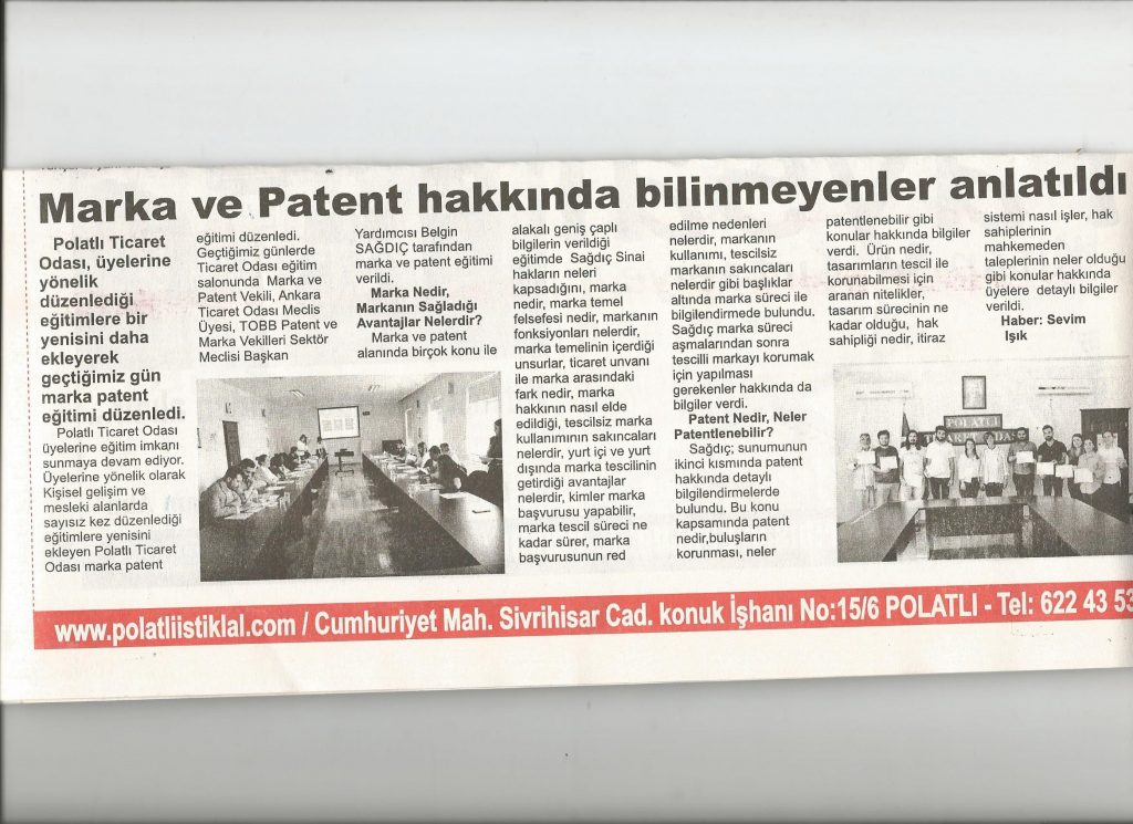 10.09.2019- İstiklal Gazetesi- MARKA VE PATENT HAKKINDA BİLİNMEYENLER ANLATILDI