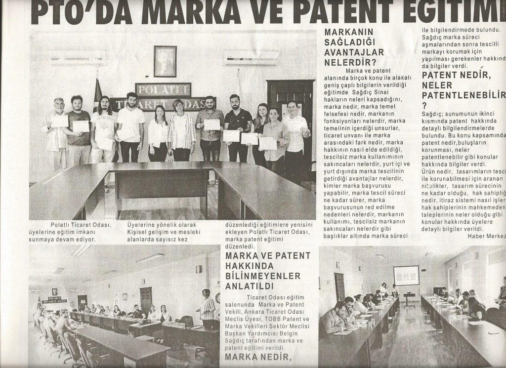 10.09.2019- Duatepe Gazetesi - PTO'DAN MARKA VE PATENT EĞİTİMİ