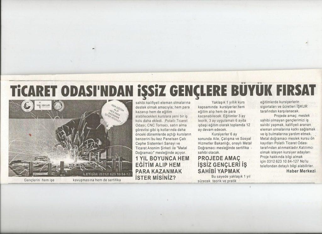 12.09.2019- DUATEPE GAZETESİ - PTO'DAN İŞSİZ GENÇLERE BÜYÜK FIRSAT