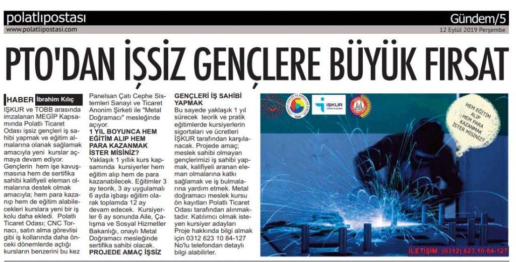 12.09.2019- POLATLI POSTASI- PTO'DAN İŞSZİ GENÇLERE İŞ İMKANI