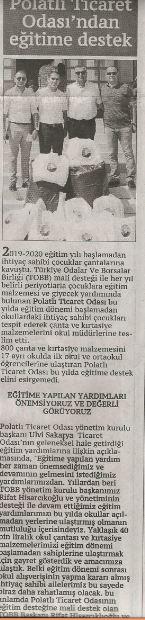 13.09.2019- ANKARA BÖLGE GAZETESİ - PTO'DAN EĞİTİME TAM DESTEK