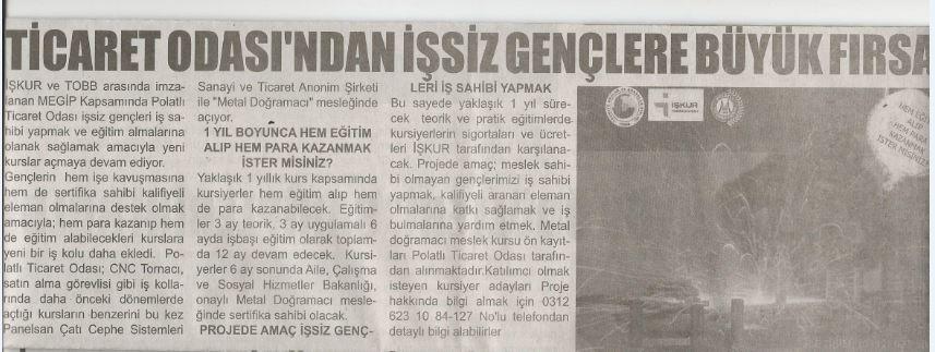 13.09.2019 -MEDAN GAZETESİ- PTO'DAN İŞSİZ GENÇLERE BÜYÜK FIRSAT