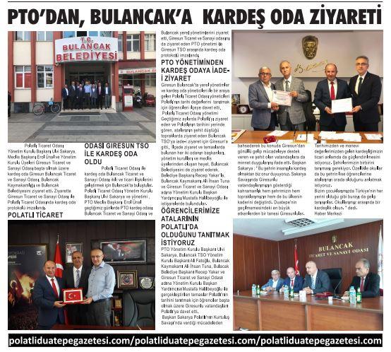 24.09.2019- DUATEPE GAZETESİ- PTO'DAN BULANCAK'A KARDEŞ ODA ZİYARETİ