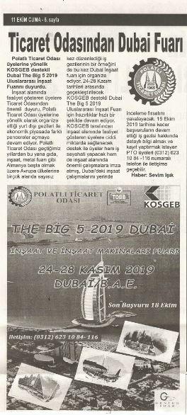 11.10.2019- İSTİKLAL GAZETESİ- TİCARET ODASINDAN DUBAİ FUARI