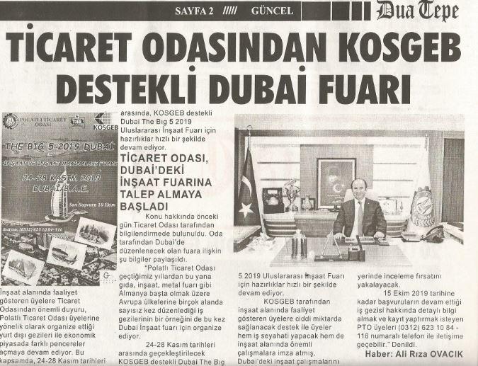11.10.2019-DUATEPE GAZETESİ-TİCARET ODASINDAN KOSGEB DESTEKLİ DUBAİ FUARI