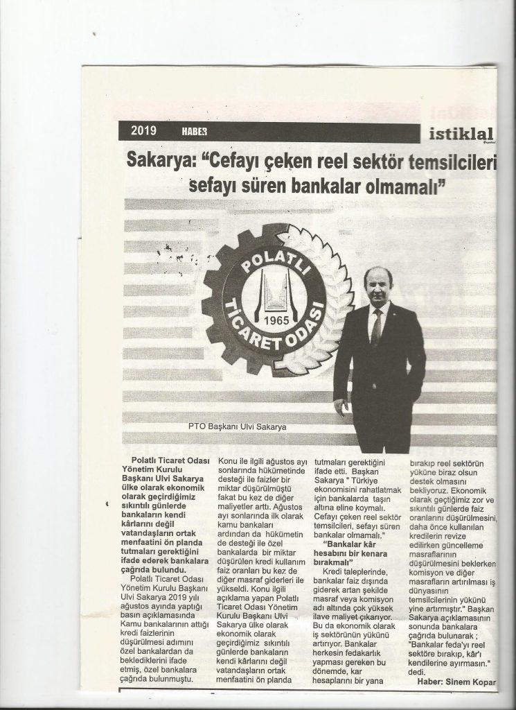 01.11.2019- İSTİKLAL GAZETESİ- BANKALARA KAR HESABINI BİR KENARA BIRAKMALI