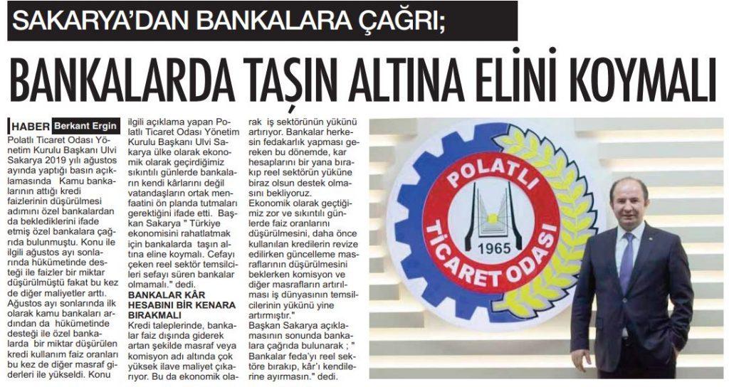 01.11.2019- POLATLI POSTASI- BANKALARDA TAŞIN ALTINA ELİNİ KOYMALI