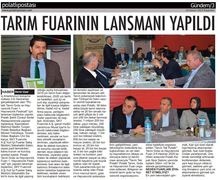 18.11.2019 POLATLI POSTASI- TARIM FUARININ LANSMANI YAPILDI
