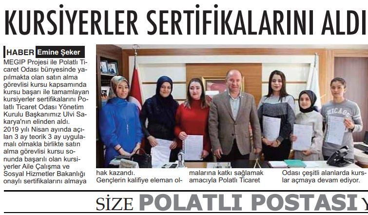 10.12.2019- POLATLI POSTASI- KURSİYERLER SERTİFİKALARINI ALDI