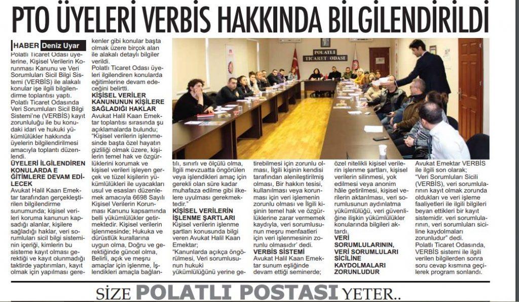 25.12.2019- POLATLI POSTASI- PTO ÜYELERİ VERBİS HAKKINDA BİLGİLENDİRİLDİ