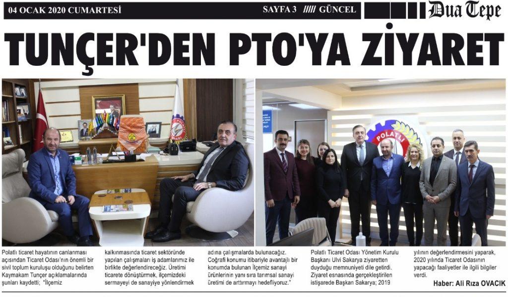 06.01.2020- Duatepe Gazetesi-TUNÇER'DEN PTO'YA ZİYARET