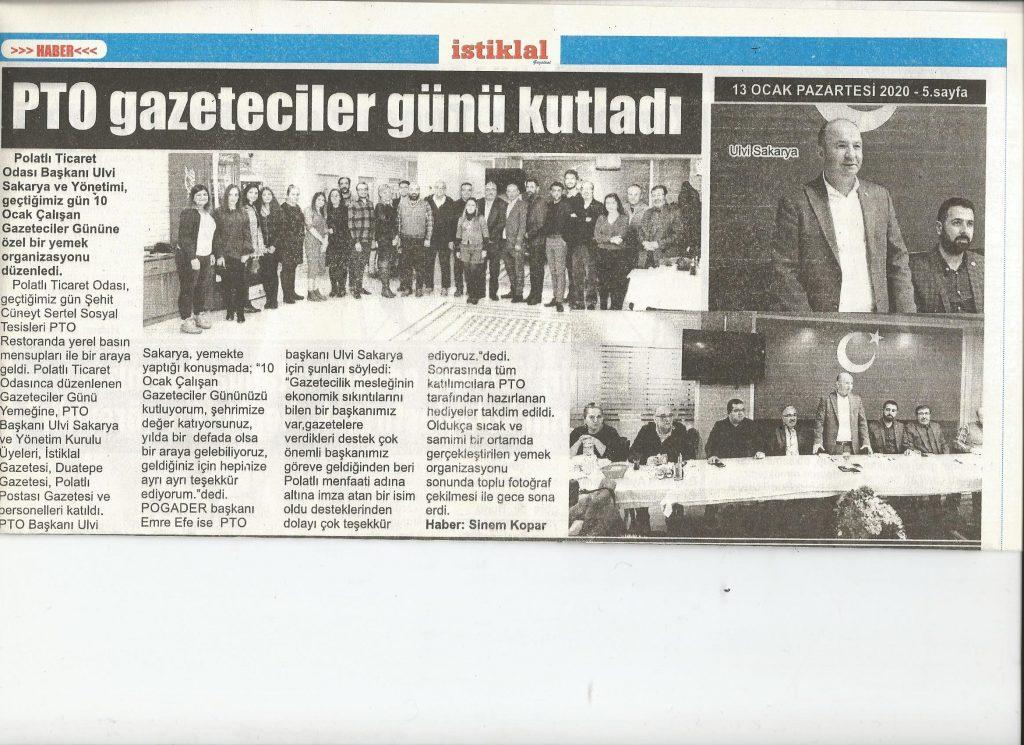 13.01.2020- İstiklal Gazetesi-PTO GAZETECİLER GÜNÜNÜ KUTLADI
