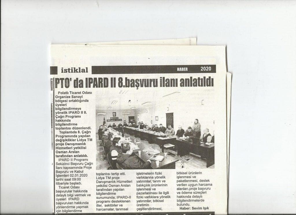 15.01.2020-İstiklal Gazetesi- PTO'DA IPARDII8.BAŞVURU ÇAĞRI İLANI ANLATILDI