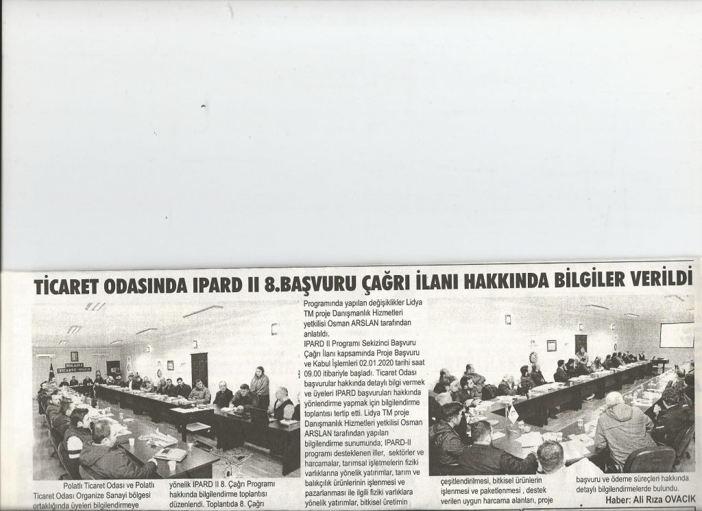 15.01.2020- Duatepe Gazetesi- TİCARET ODASINDA IPARD II 8.BAŞVURU İLANI DETAYLARI ANLATILDI