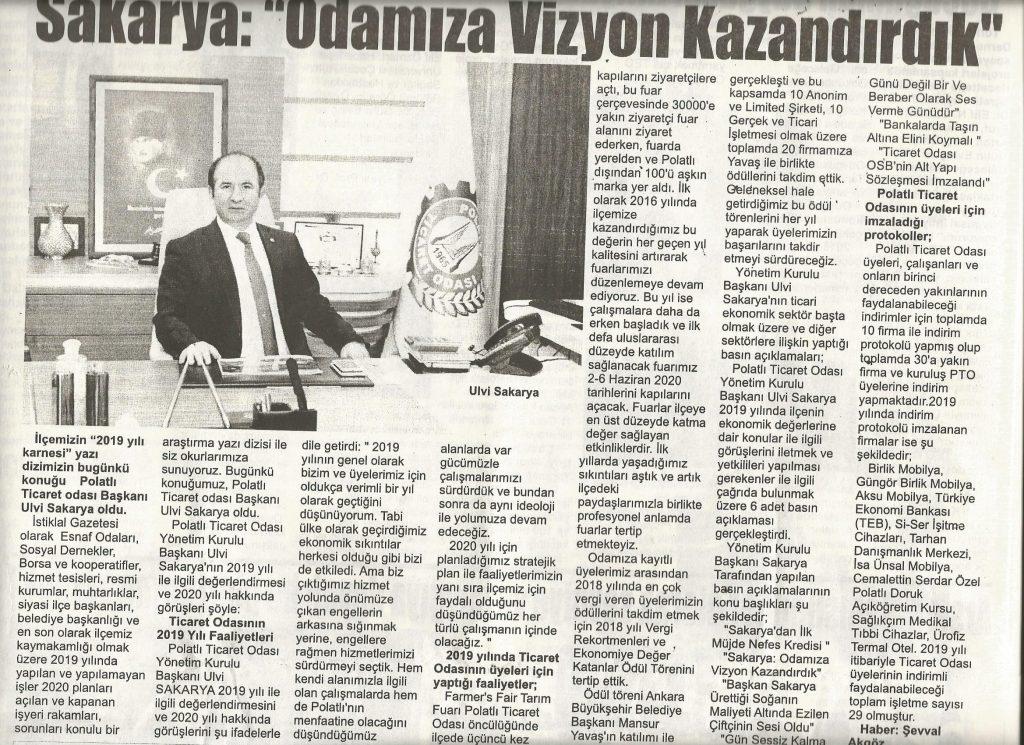 16.01.2020- İstiklal Gazetesi- SAKARYA ODAMIZA VİZYON KAZANDIRDIK