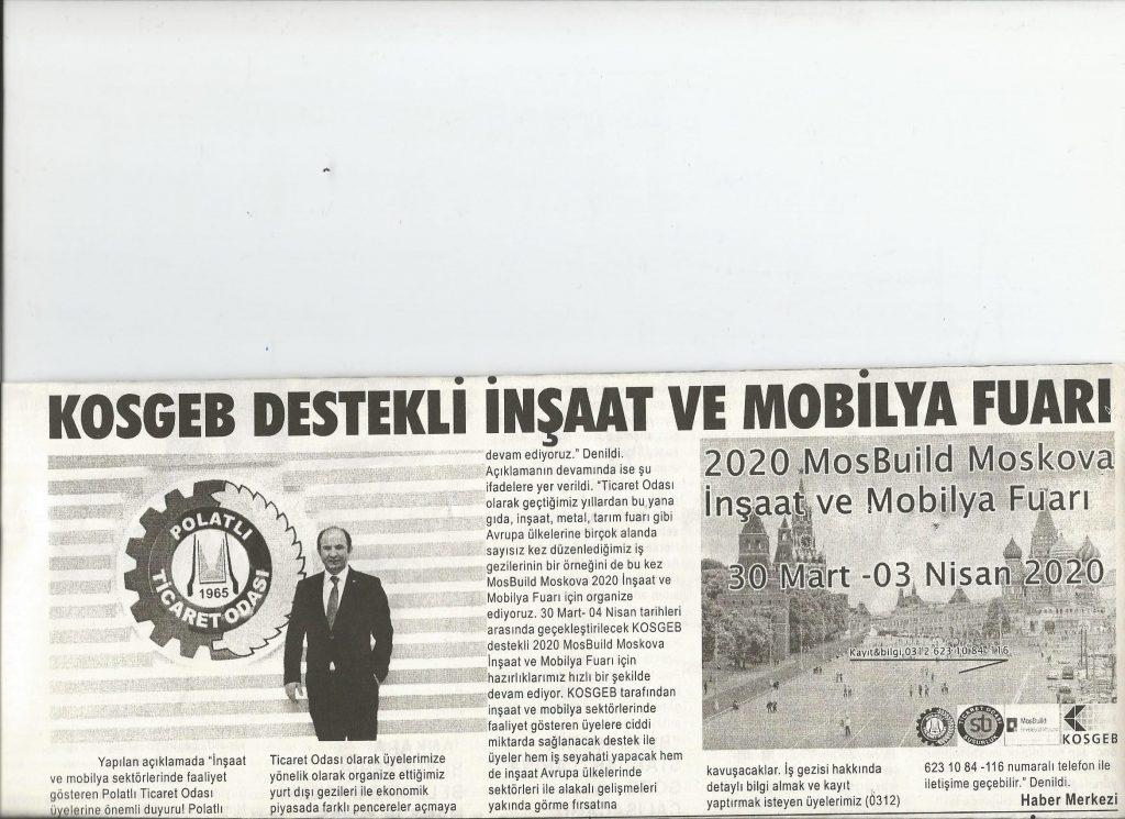 16.01.2020- Duatepe Gazetesi- TİCARET ODASINDAN KOSGEB DETSEKLİ MOBİLYA VE İNŞAAT FUARI