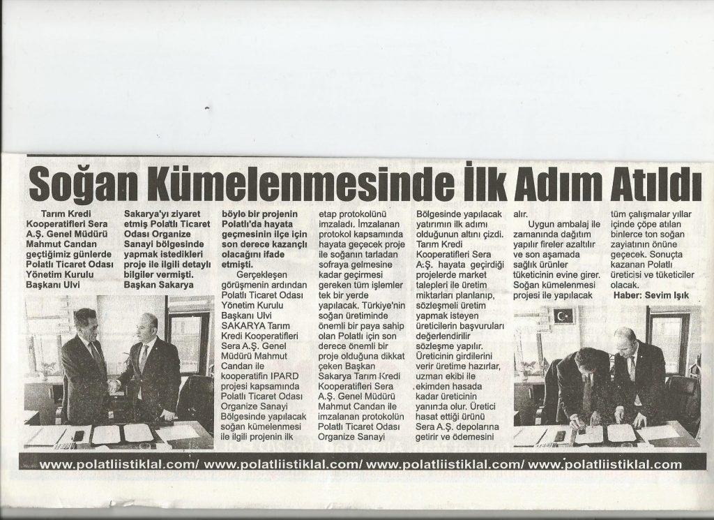17.01.2020- İstiklal Gazetesi- SOĞAN KÜMLENMESİNDE İLK EDIM ATILDI