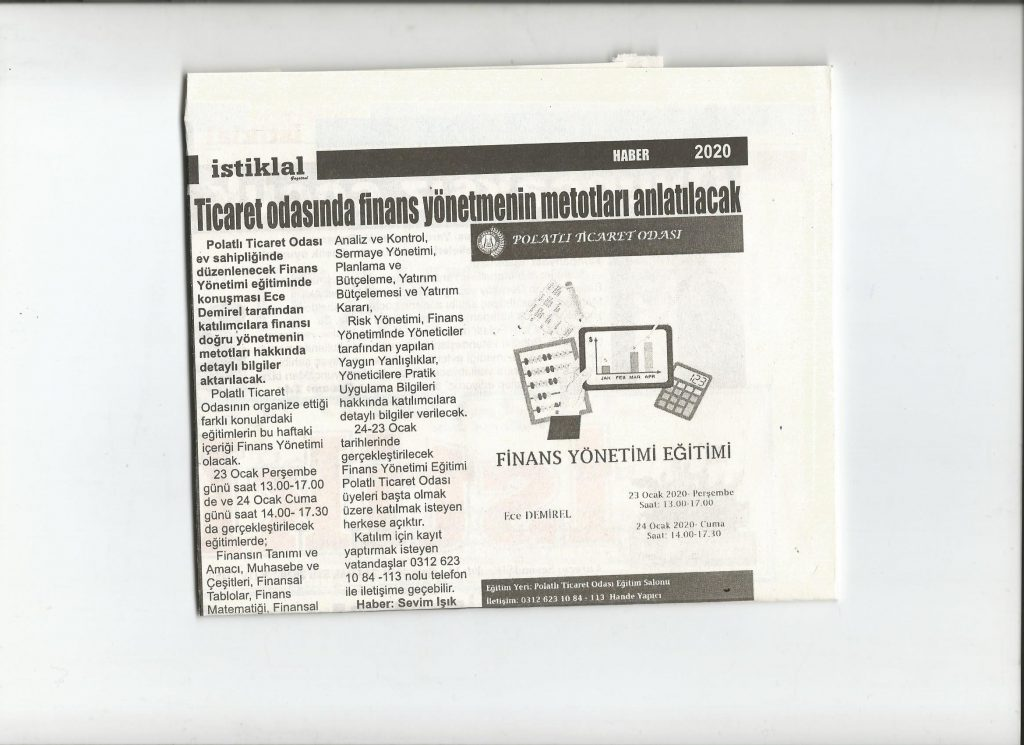 21.01.2020- İstiklal Gazetesi-TİCARET ODASINDA FİNANS YÖNETMENİN METODLARI ANLATILACAK