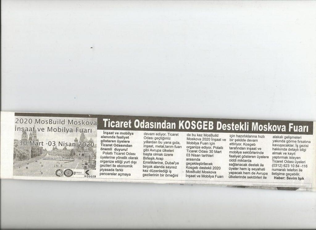 21.01.2020- İstiklal Gazetesi- TİCARET ODASINDAN KOSGEB DESTEKLİ MOSKOVA FUARI