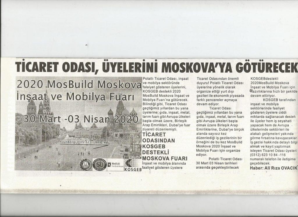 21.01.2020- Duatepe Gazetesi -TİCARET ODASI ÜYELERİNİ MOSKOVAYA GÖTÜRECEK