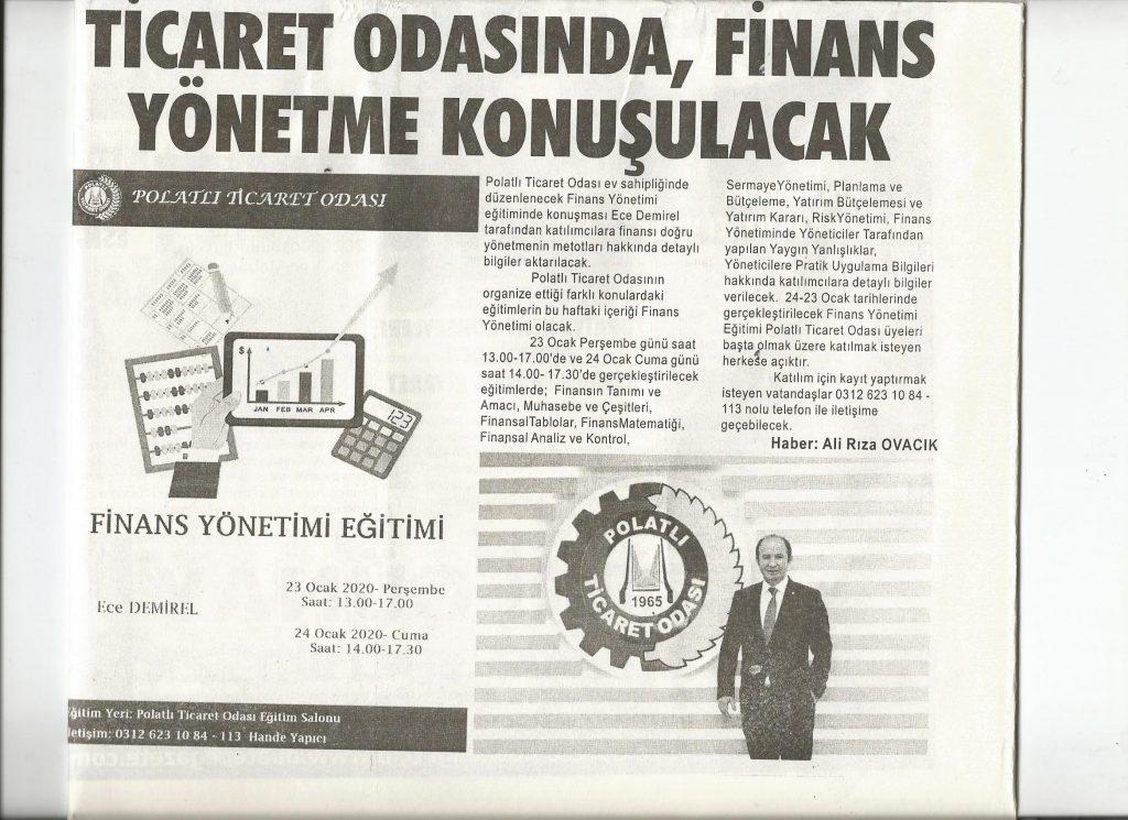 21.01.2020- Duatepe Gazetesi- TİCARET ODASINDA FİNANS YÖNETME KONUŞULACAK