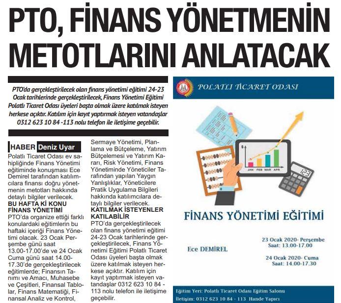 21.01.2020- Polatlı Postası- PTO FİNANS YÖNETMENİN METODLARINI ANLATACAK