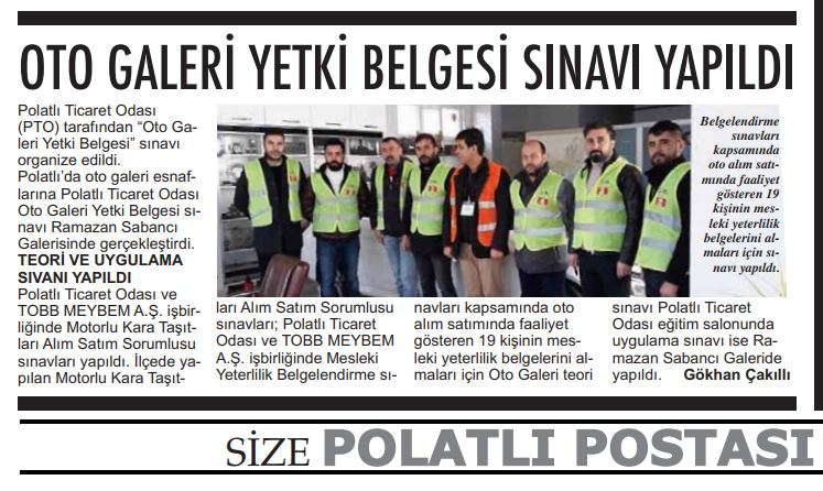 24.01.2020- Polatlı Postası- OTO GALERİ YETKİ BELGESİ SINAVI YAPILDI