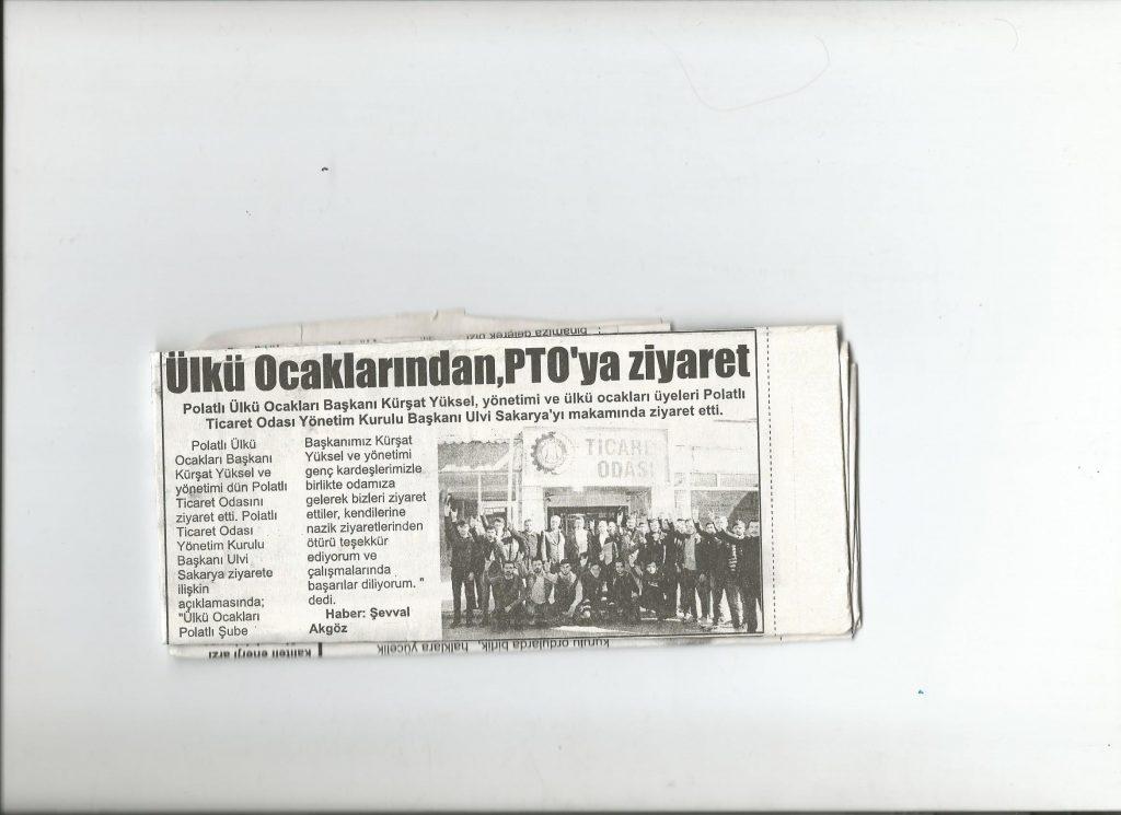 İstiklal Gazetesi - ÜLKÜ OCAKLARINDAN PTO'YA ZİYARET