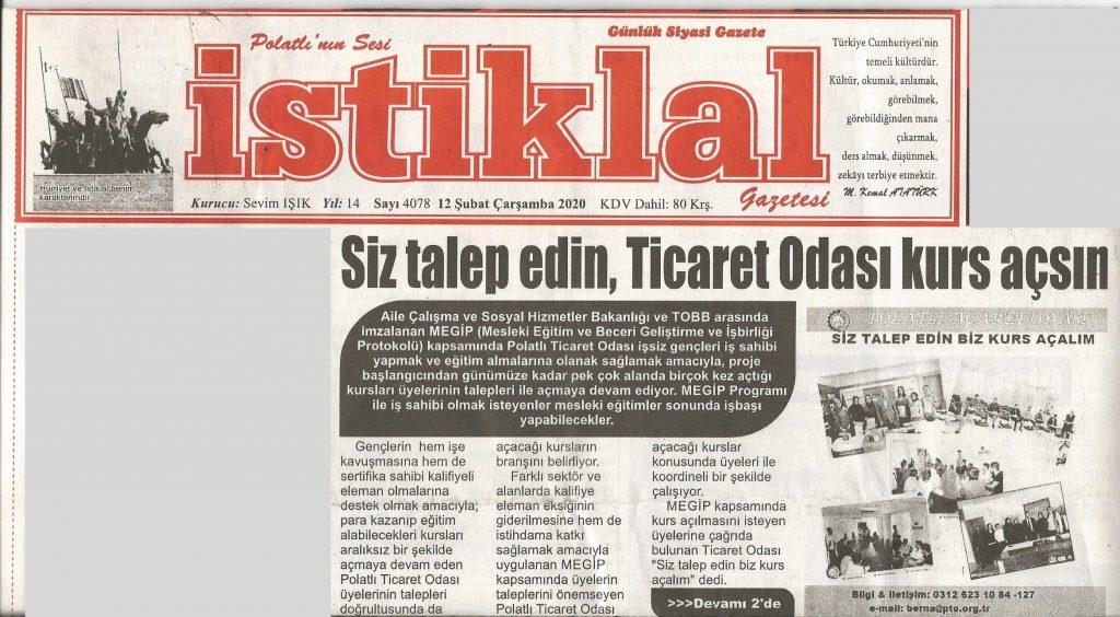 02.12.2020- İstiklal Gazetesi-MANŞET- SİZ TALEP EDİN TİCARET ODASI KURS AÇSIN