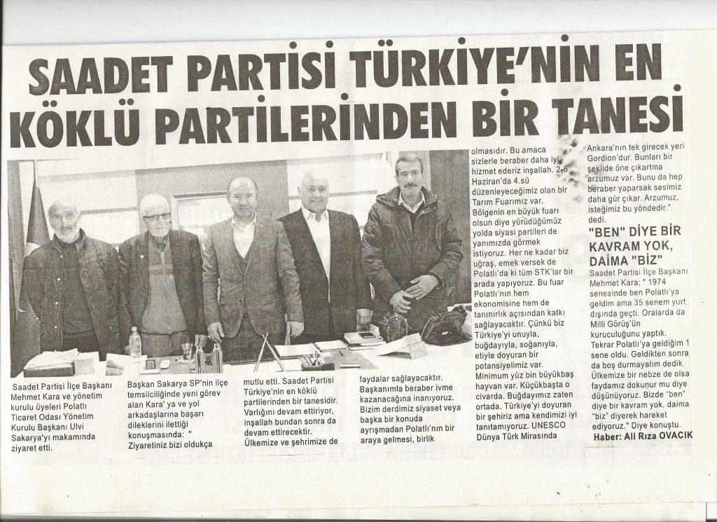 05.02.2020- Duatepe Gazetesi- SAADET PARTİSİ TÜRKİYE'NİN EN KÖKLÜ PARTİLERİNDEN BİRTANESİİ