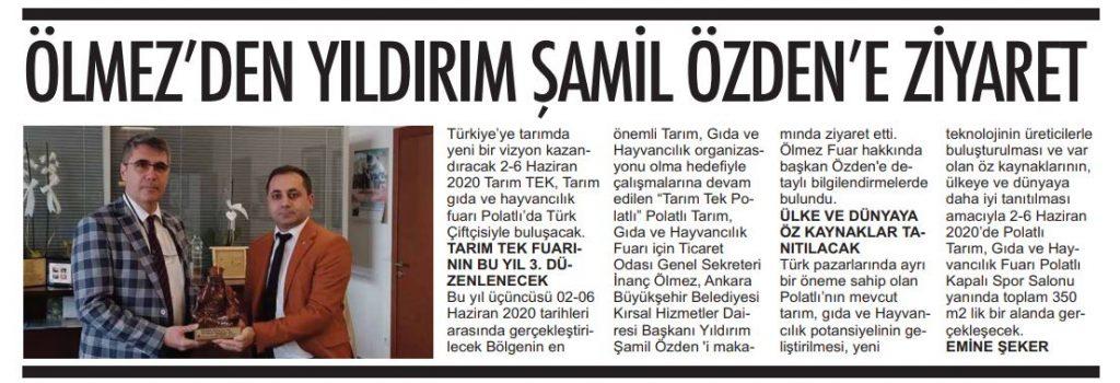 05.02.2020- Polatlı Postası-ÖLMEZ'DEN ŞAMİL ÖZDEN'E ZİYARET