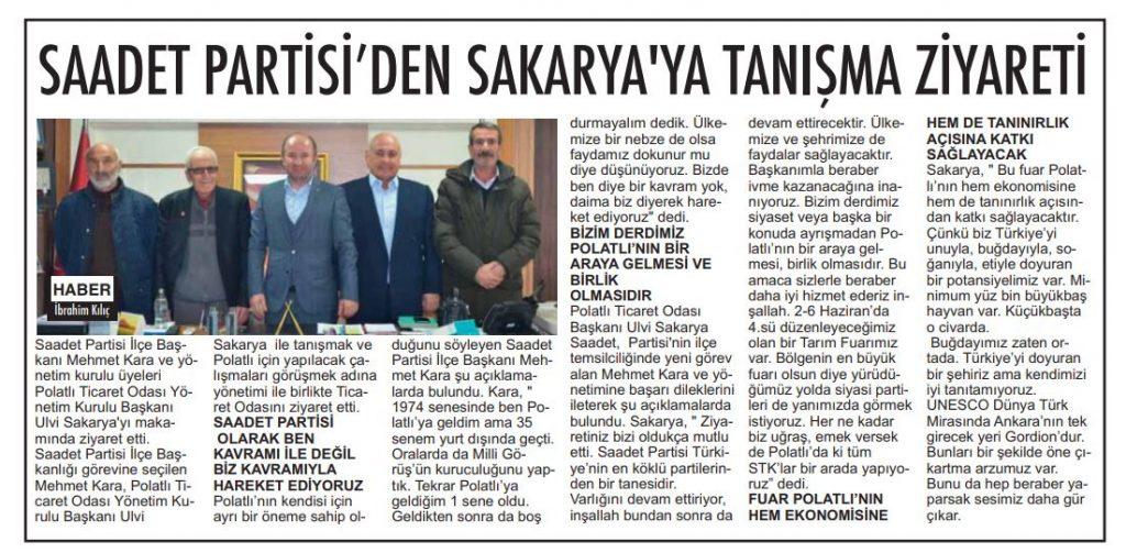 05.02.2020- Polatlı Postası- SAADET PARTİSİ'NDEN SAKARYA'YA TANIŞMA ZİYARETİ