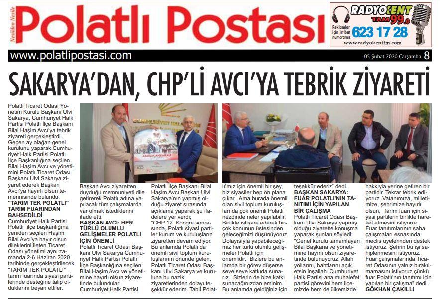 05.02.2020- Polatlı Postası- SAKARYA'DAN CHP'Lİ AVCI'YA TEBRİK ZİYARETİ