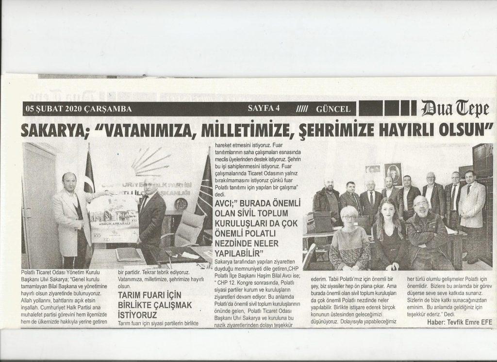 055.02.2020- Duatepe Gazetesi- SAKARYA; VATANIMIZA, MİLLETİMİZE, ŞEHRİMİZE HAYIRLI OLSUN