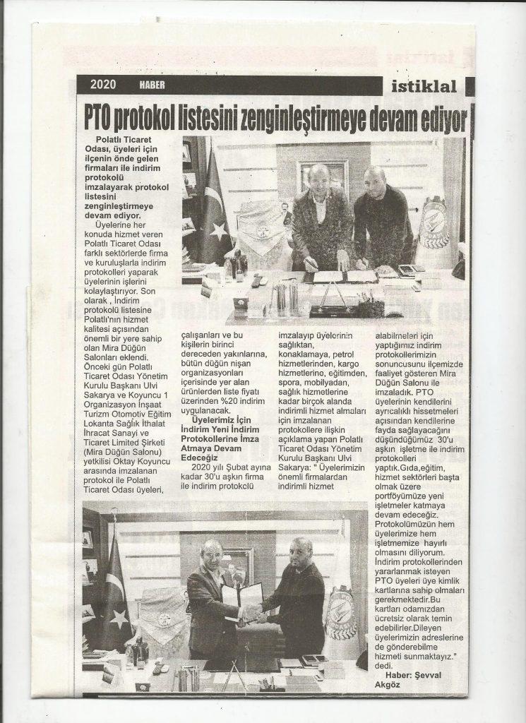 06.02.2020- İstiklal Gazetesi- PTO PROTOKOL LİSTESİNİ ZENGİNLEŞTİRMEYE DEVAM EDİYOR