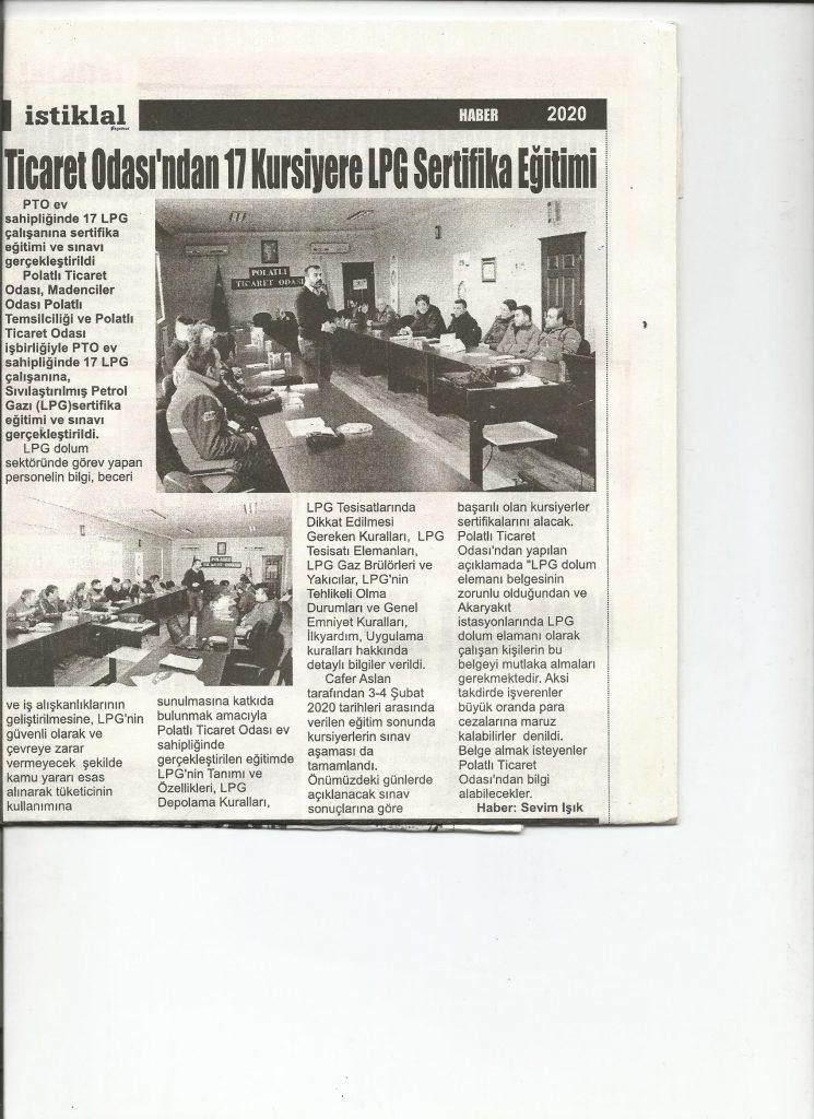 06.02.2020- İstiklal- TİCARET ODASINDA 17 KURSİYERE LPG SERTİFİKA EĞİTİMİ