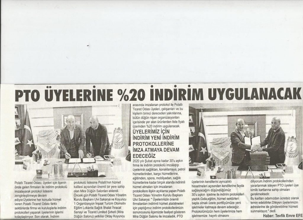 06.02.2020- Duatepe Gazetesi- PTO ÜYELERİNE % 20 İNDİRİM UYGULANACAK